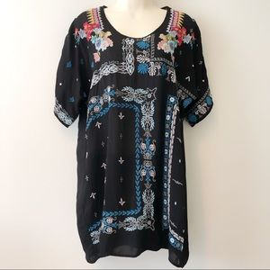 Johnny Was Embroidered Floral Tunic Top S